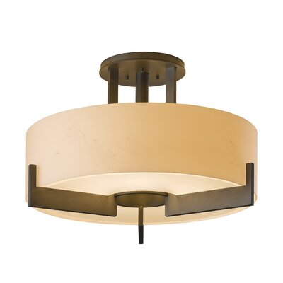 Axis Medium 3-Light Semi Flush Mount Finish: Natural lron, Shade Color: Stone, Bulb Type: (3) 100W A-19 medium base bulbs