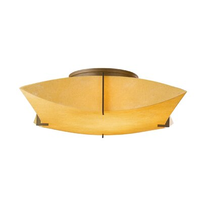 Bento 2-Light Semi Flush Mount Shade: Spun Amber, Finish: Translucent Dark Smoke