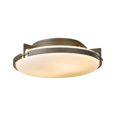 Banded 2-Light Semi-Flush Mount Glass: Pearl, Finish: Opaque Natural Iron