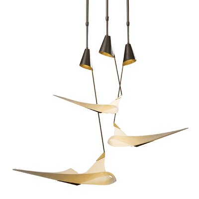 Icarus 3-Light Cascade Pendant Glass: Spun Frost, Finish: Translucent Bronze