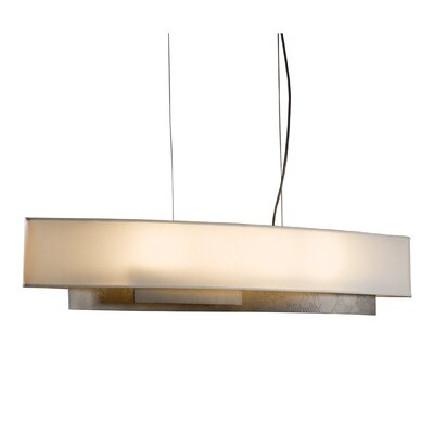 Current 4-Light Drum Pendant Shade: Flax, Finish: Translucent Burnished Steel