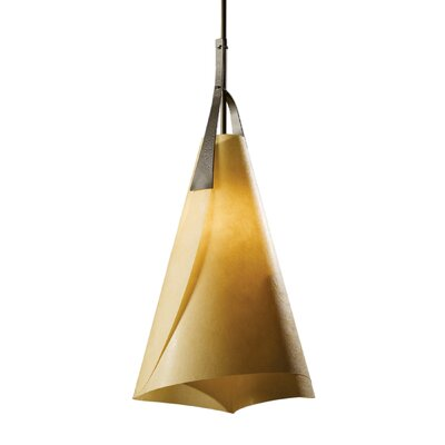 Mobius Pendant Shade: Natural Cork, Finish: Translucent Burnished Steel