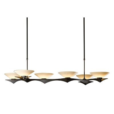Moreau 6-Light Kitchen Island Pendant Finish: Dark Smoke, Glass Type: Sand Glass, Stem Length: 24.9 - 36.6