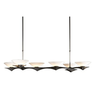 Moreau 6-Light Kitchen Island Pendant Finish: Natural Iron, Glass Type: Sand Glass, Stem Length: 34.1 - 50.2
