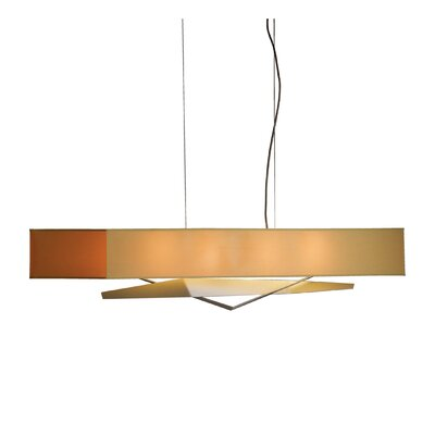 Facet 4-Light Kitchen Island Pendant Shade: Doeskin Micro-Suede, Finish: Translucent Burnished Steel