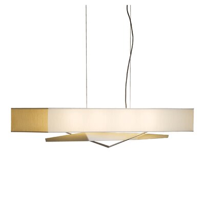 Facet 4-Light Kitchen Island Pendant Shade: Doeskin Micro-Suede, Finish: Opaque Natural Iron