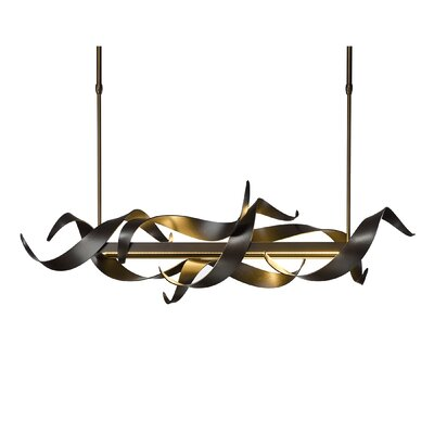 Folio 1-Light LED Kitchen Island Pendant Finish: Burnished Steel, Size: 38.2 H x 13.2 W