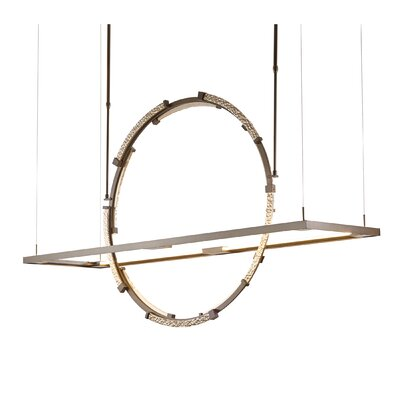 Theta LED Geometric Pendant Finish: Burnished Steel/Soft Gold