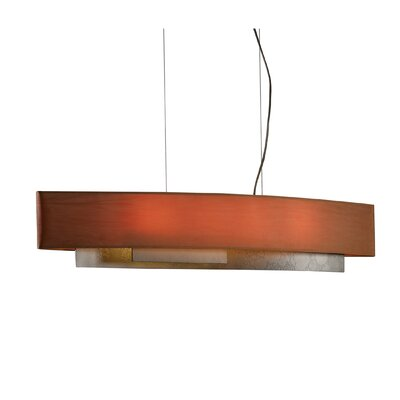Current 4-Light Drum Pendant Shade: Terra Micro-Suede, Finish: Translucent Dark Smoke