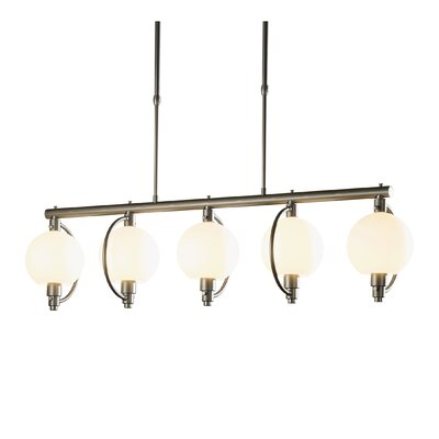 Pluto 5-Light Kitchen Island Pendant Shade Color: Opal, Stem Length: Short, Finish: Burnished Steel