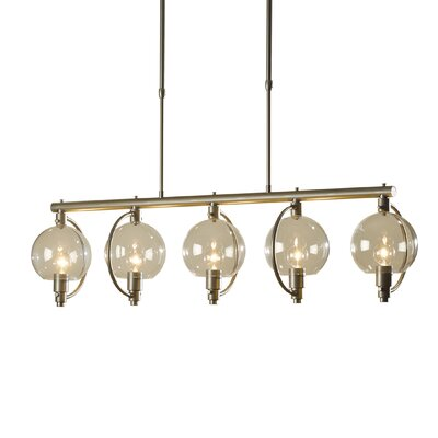 Pluto 5-Light Kitchen Island Pendant Shade Color: Clear, Stem Length: Long, Finish: Burnished Steel