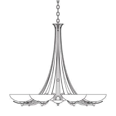 7-Light Candle-Style Chandelier Finish: Brushed Steel, Shade Color: Opal