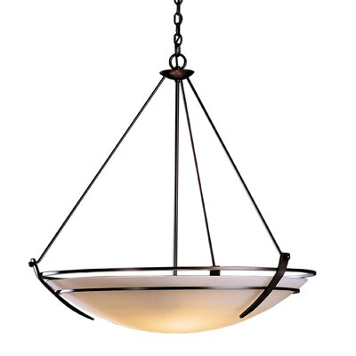 Tryne 3-Light Inverted Pendant Finish: Brushed Steel, Shade Color: Opal, Size: 32.2 H
