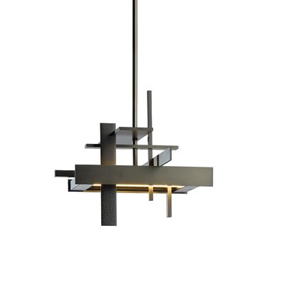 Planar 1-Light LED Geometric Pendant Finish: Burnished Steel, Size: Long