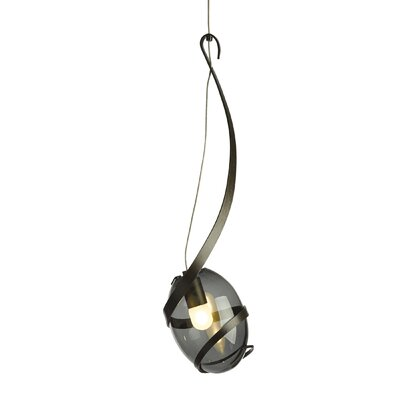 Pinot 1-Light Mini Pendant Shade Color: Cool Gray, Finish: Dark Smoke