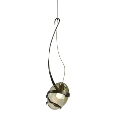 Pinot 1-Light Mini Pendant Shade Color: Cool Gray, Finish: Burnished Steel