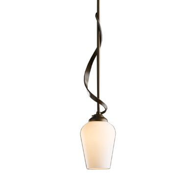 Flora 1-Light Mini Pendant Finish: Opaque Natural Iron, Glass: Opal