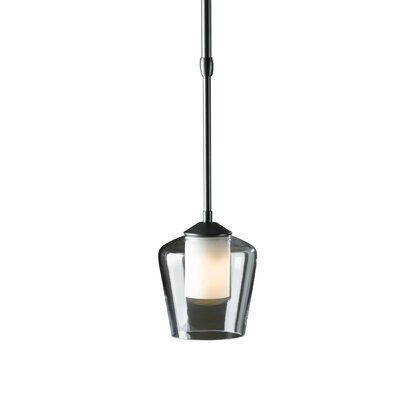 LengthDouble Glass 1-Light Pendant Glass: Clear with Stone Diffuser, Finish: Opaque Natural Iron, Stem Length: Standard