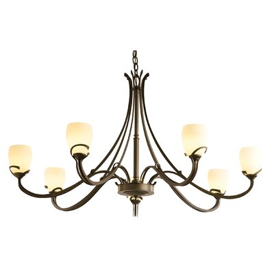 Aubrey 7-Light Shaded Chandelier Finish: Bronze, Shade Color: Pearl