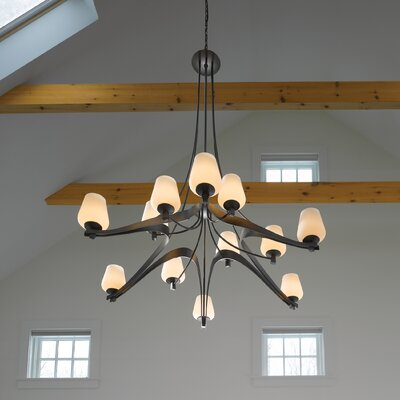 Ribbon Glass 12-Light Shaded Chandelier Glass: Opal, Finish: Opaque Natural Iron
