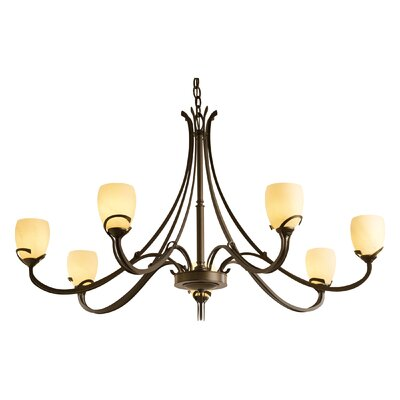Aubrey 7-Light Candle-Style Chandelier Finish: Bronze, Shade Color: Stone