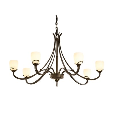 Aubrey 7-Light Shaded Chandelier Finish: Burnished Steel, Shade Color: Stone