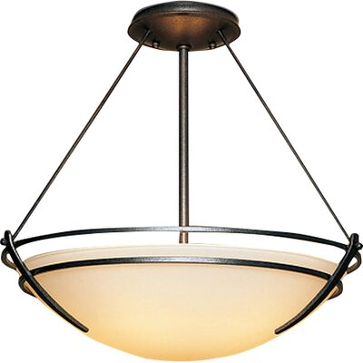 Presidio Extra Large 3-Light Semi Flush Mount Finish: Brushed Steel, Shade Color: Opal