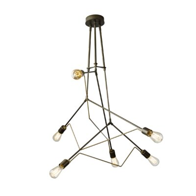 Divergence 6-Light Cascade Pendant Base Finish: Natural Iron, Shade Color: Soft Gold, Size: 43.4 H x 54.5 W x 54.5 D