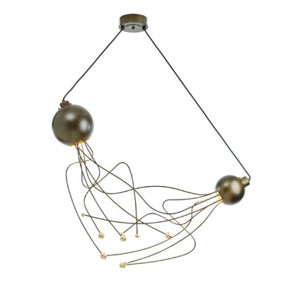 Duet 2-Light Cascade Pendant Base Finish: Burnished Steel, Shade Color: Soft Gold