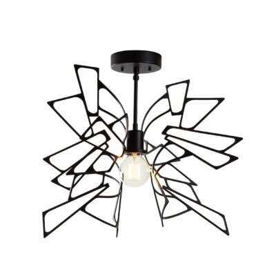 Deutsch 1-Light Semi Flush Mount Fixture Finish: Black