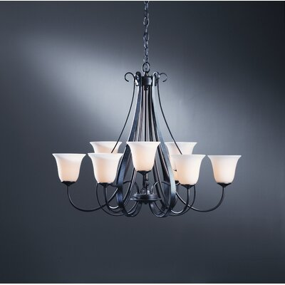 9-Light Candle-Style Chandelier Finish: Brushed Steel, Shade Color: Pearl