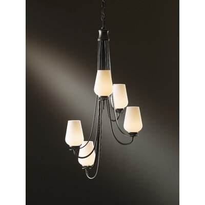 Flora 5-Light Shaded Chandelier Finish: Brushed Steel, Shade Color: Opal