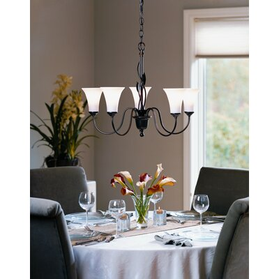 Forged Leaves 5-Light Candle-Style Chandelier Finish: Mahogany, Shade Color: Pearl