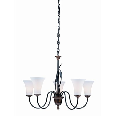 Forged Leaves 5-Light Shaded Chandelier Finish: Natural lron, Shade Color: Opal