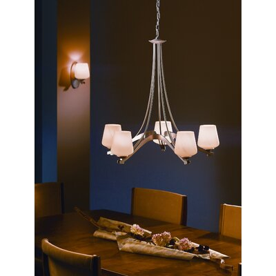 5-Light Ribbon Shaded Chandelier Finish: Brushed Steel, Shade Color: Pearl, Bulb Type: (5) 100W A-19 fluorescent bulbs