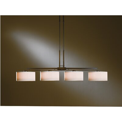 Trestle 4-Light Kitchen Island Pendant Finish: Natural lron, Shade Color: Stone
