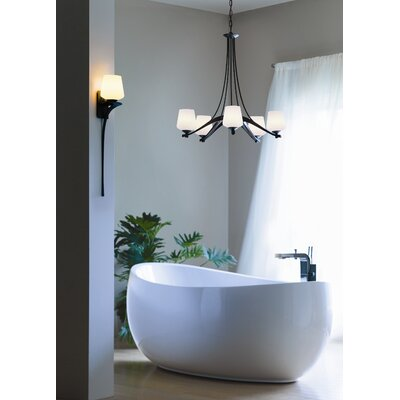 5-Light Ribbon Shaded Chandelier Finish: Black, Shade Color: Opal, Bulb Type: (5) 100W A-19 medium base bulbs