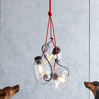 3-Light Cluster Pendant Finish: Red