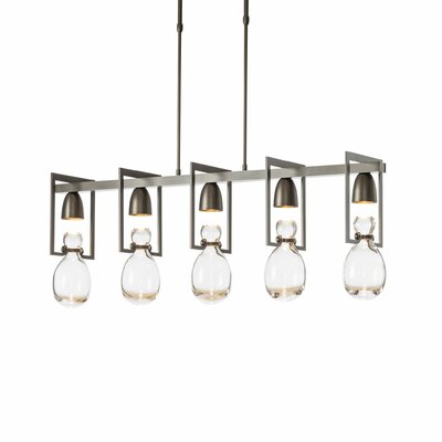 New Traditional Apothecary 5-Light Kitchen Island Pendant Finish: Black, Adjustable Height: 28.9 - 36.3