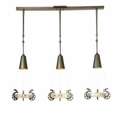 Lens 3-Light Kitchen Island Pendant Finish: Mahogany, Adjustable Height: 36.4 - 43.1