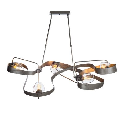 Graffiti 5-Light Geometric Pendant Finish: Vintage Platinum, Adjustable Height: 25 - 35.8
