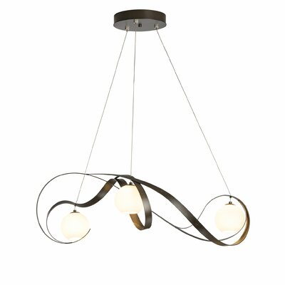 Karma 3-Light Cluster Pendant Finish: Natural Iron, Glass: Opal