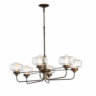 New Traditional Nola 6-Light Candle-Style Chandelier Finish: Natural Iron, Glass: Clear Glass with Frost, Height: 50.8 - 62.1