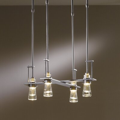 Erlenmeyer 4-Light Pendant Finish: Translucent Dark Smoke, Stem Length: 47.4 to 57