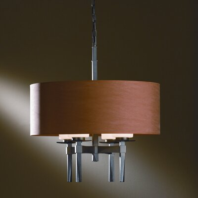 Beacon Hall 4-Light Drum Chandelier Shade: Terra Micro-Suede, Finish: Translucent Dark Smoke