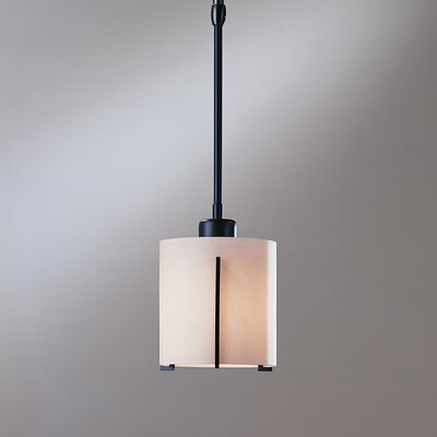 Exos Round Small 1-Light Pendant Glass: Pearl, Finish: Opaque Black