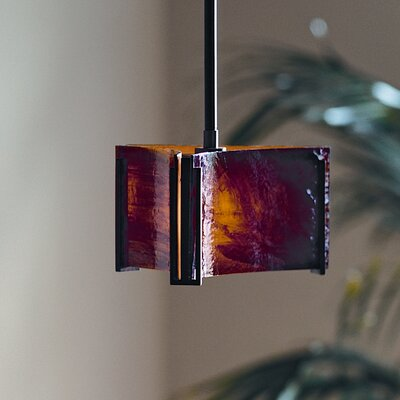 Exos Delta 1-Light Drum Pendant Glass: Amber Swirl, Finish: Translucent Burnished Steel