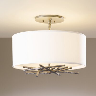 Brindille 3-Light Semi-Flush Mount Shade: Flax, Finish: Opaque Natural Iron