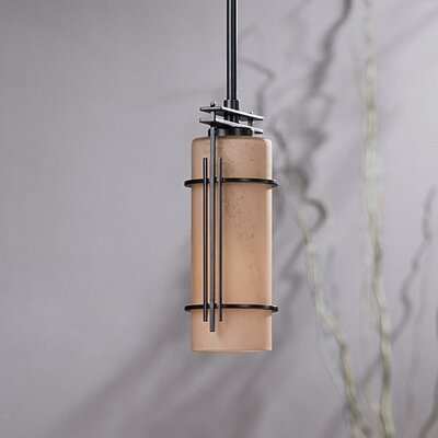 Paralline Small 1-Light Drum Pendant Glass: Stone, Finish: Opaque Black