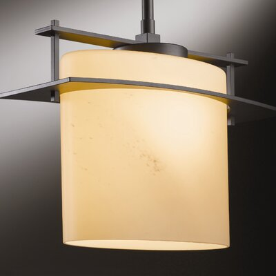 Ellipse Arc 1-Light Drum Pendant Finish: Translucent Burnished Steel, Glass: Stone